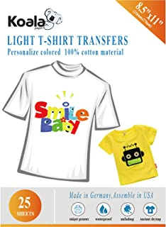Koala Paper 25 Sheets Light T Shirt Transfer Paper 8.5x11 Inches Letter Size Compatible with Inkjet Printer