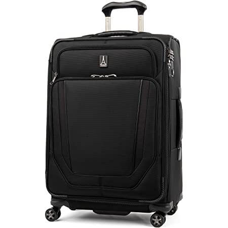 Travelpro Crew Versapack-Softside Expandable Spinner Wheel Luggage, Jet Black, Checked-Medium 25-Inch