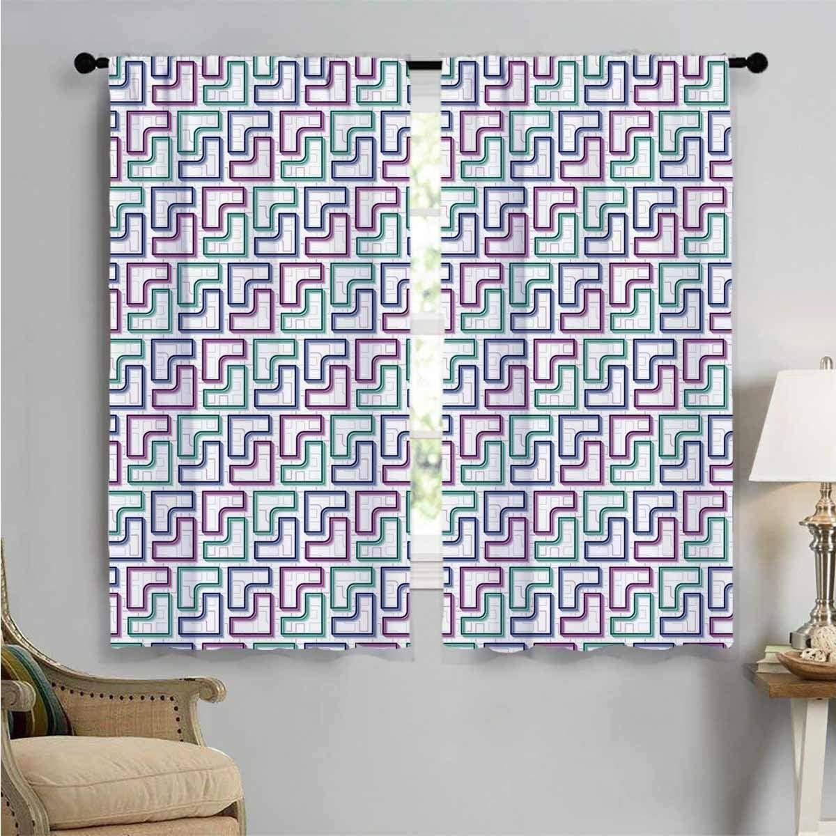 Bedroom Curtains Trippy Maze Max 77% OFF Genuine Tiles Kids Artwork Panels 2 Room