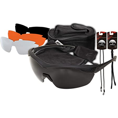 Edge Tactical Eyewear HO611 Overlord Kit with 4 Lens Sets with Polarized Smoke, Clear