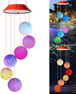 Wind Chimes Outdoor,Solar Color Changing LED Light Lamp Six Balls Mobile Romantic Wind-Bell for Home, Party, Festival Decor, Night Patio Yard Garden Decoration(Crystal Ball)