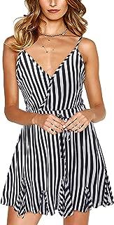 SOLERSUN Women's Casual Striped Spaghetti Strap Sexy V Neck Ruffle Hem Pleated Beach Mini Dress