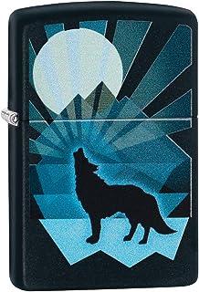 Zippo 男女通用的狼和月亮图案防风打火机,黑色,常规款