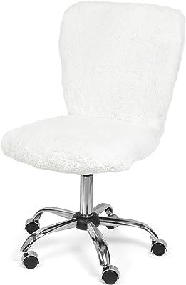 Urban Shop Sherpa Swivel Desk Task Chair, White