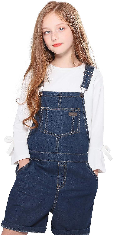 SOLOCOTE GirlVintage Over item handling ☆ Fashion Wash Denim Pinafore with Straps Adjustable