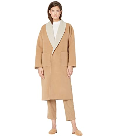 Eileen Fisher Doubleface Wool Cashmere Shawl Collar Coat (Honey) Women