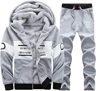 NRUTUP Men`s Active Hoodies SweatShirts Winter Zipper Thickening Leisure Suit Tops Pants Sets Sports & Outdoors