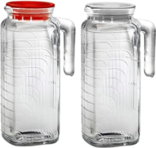Bormioli Rocco Gelo Glass Jug 2 Piece Set with Red and White Lid