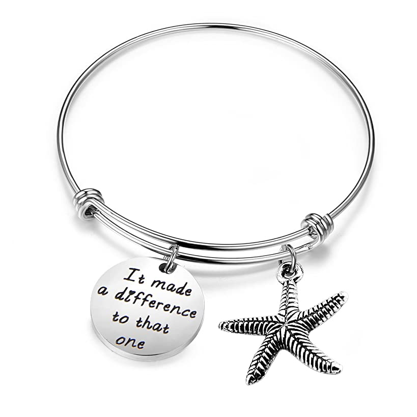 MAOFED Starfish Bracelet It Made a Difference to That one Social Worker Gifts Sea Jewelry