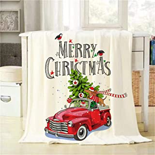 BJOLEdS Christmas Card Throw Blanket Red Retro Truck with a Fir Tree Gifts and The Dachshund in a Scarf Extra Soft Warm Lightweight Cozy Flannel Plush Blankets for Babies Family Pets 32 X 48 Inch