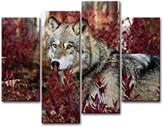 4 Piece Wall Art Painting Wolf in The Forest Pictures Prints On Canvas Animal The Picture Decor Oil for Home Modern Decora...
