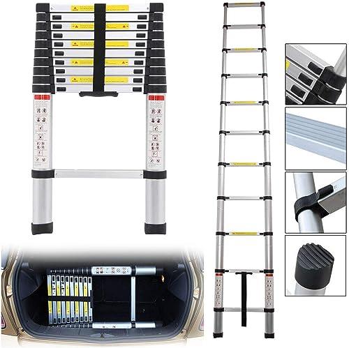 wholesale 10.5 FT Aluminium Telescoping lowest Ladder Extension Steps EN131 Certificated 330lb Load online Capacity online sale