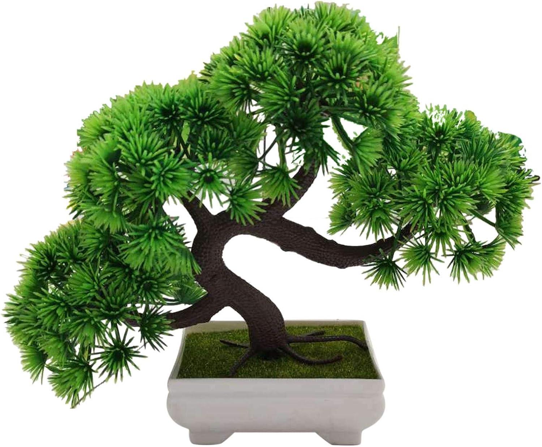 "CALIDAKA 10"" Artificial Bonsai Tree Fake Plant in Pot Artificial Japanese Cedar Bonsai Tree Faux Bonsai Japanese Pine Bonsai Plant for Home Office Showcase Indoor Décor Desktop Display"