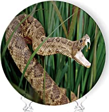 Snake in Long Grass with Mouth Open Showing Venom Art Home Ceramic Decorative Plate Collectible Display Plate Crafts,with Stand,for Living Room of The Home,6''