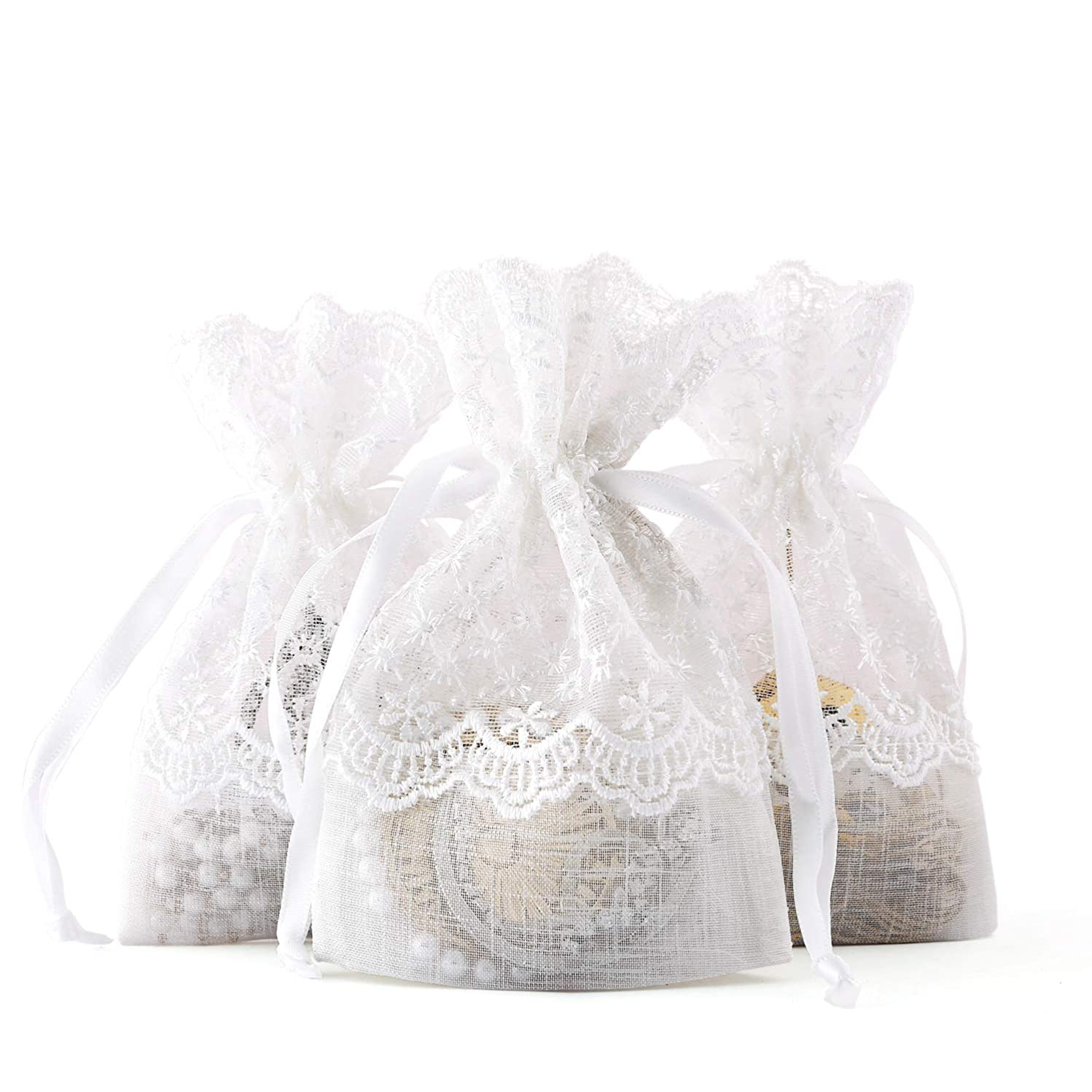 WRAPAHOLIC 4x5.5 inch 20 pcs Lace Drawstring Gift Bag - Elegant Lace Floral Design Wedding Party Welcome Favor Bags