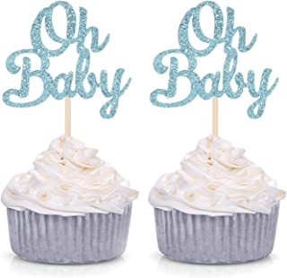 Blue Glitter Oh Baby Cupcake Toppers Baby Shower Boy's First Birthday Party Decorations (Pack of 24)