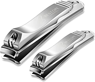 BESTOPE Nail Clippers Set Fingernail & Toenail Clipper Cutter, 2PCS Stainless Steel Sharp Sturdy trimmer set for Men & Women