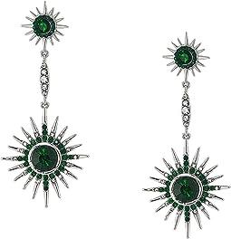 Double Starburst Drop Linear Earrings Emerald