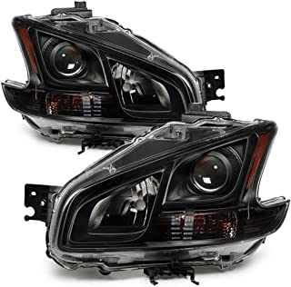 ACANII - For Black Headlamps Set 2009-2014 Nissan Maxima Halogen Projector Headlights Driver + Passenger Side