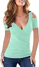 Merryfun Women's Long Sleeve Sexy Blouse Deep V Neck Casual Bodycon Tee Shirts Tops
