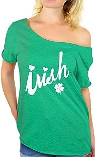 Awkwardstyles Women's Irish White Off Shoulder Tops T-Shirt + Bookmark