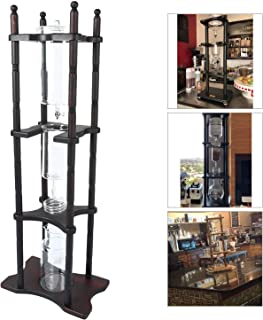 PayOff 25 Cup Cold Drip Maker Coffee Tower with Iced Slow Drip Technology, 25 Cup Cold Brew Coffee Maker, Dark Brown Wood Frame Included