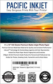 Pacific Inkjet - Premium Matte Inkjet Photo Paper - 100 Sheets 230gsm 8.5mil (11-X-14-inch)