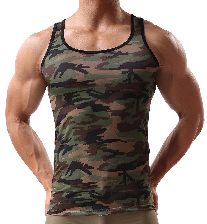 C-Princess 迷彩柄 男性用 メンズ ベスト タンクトップ トップス インナーシャツ 袖なし ミリタリー お洒落 部屋着 スポーツ ジムウェア