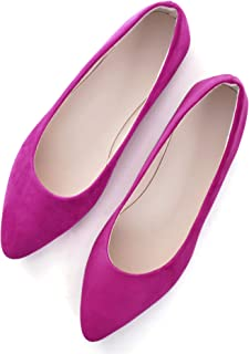 Hee grand Women's Light Solid Color Ballets,Slip on Shallow Flock Pointy Toe Flats Shoes
