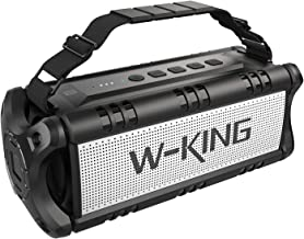 W-KING 50W Wireless Bluetooth Speakers & 8000mAh Battery Power Bank - Outdoor Portable Waterproof TWS Speaker, Powerful Rich Bass Loud Clear Stereo Sound for Parties, Indoor & Outdoor (Black)