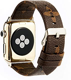 GOKE Brown Flower LV Printed Luxury PU Vegan Leather Watch Band Strap Compatible with 38mm 42mm Apple iWatch Series 3 2 1 (Silver Connector + Silver Buckle, 38mm)