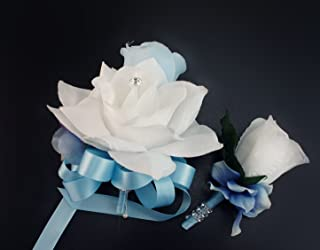 Angel Isabella 2pc Set - Pin Corsage and Boutonniere - Baby Blue and White Rose Hydrangea