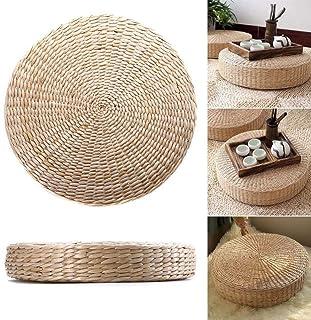 Cojín de paja tejido, silla, asiento de yoga, cojín de meditación, hecho a mano, tatami, cojín de suelo, puf plano y redondo de punto para decoración de jardín, futón suave