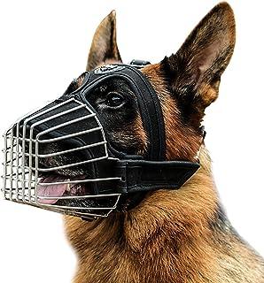 Mayerzon German Shepherd Wire Basket Dog Muzzle Pitbull Great Dane Metal Cage Muzzles with Soft Padding Iron Dog Mouth Gua...