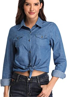 Dilgul Women's Chambray Denim Shirt Casual Long Sleeve Button Down Washed Jeans Top