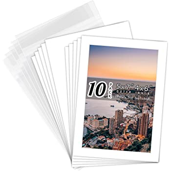 Golden State Art, Pack of 10 White Pre-Cut 5x7 Picture Mat for 4x6 Photo with White Core Bevel Cut Mattes Sets. Includes 10 High Premier Acid Free Bevel Cut Matts & 10 Backing Board & 10 Clear Bags