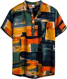 Mens Casual Vintage Ethnic Style Short SleeveCotton Linen Multicolor Printing Hawaiian Dress Shirt Blouse