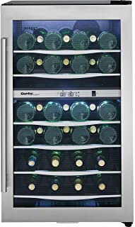 Danby DWC040A3 20 Inch Wide 38 Bottle Capacity Free Standing Wine Cooler with Du, Black/Stainless Steel