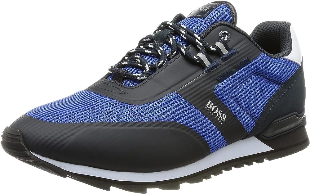 Hugo boss parkour_runn_me scarpe sneakers da ginnastica per uomo ibride in nylon mesh e pelle 50455306D