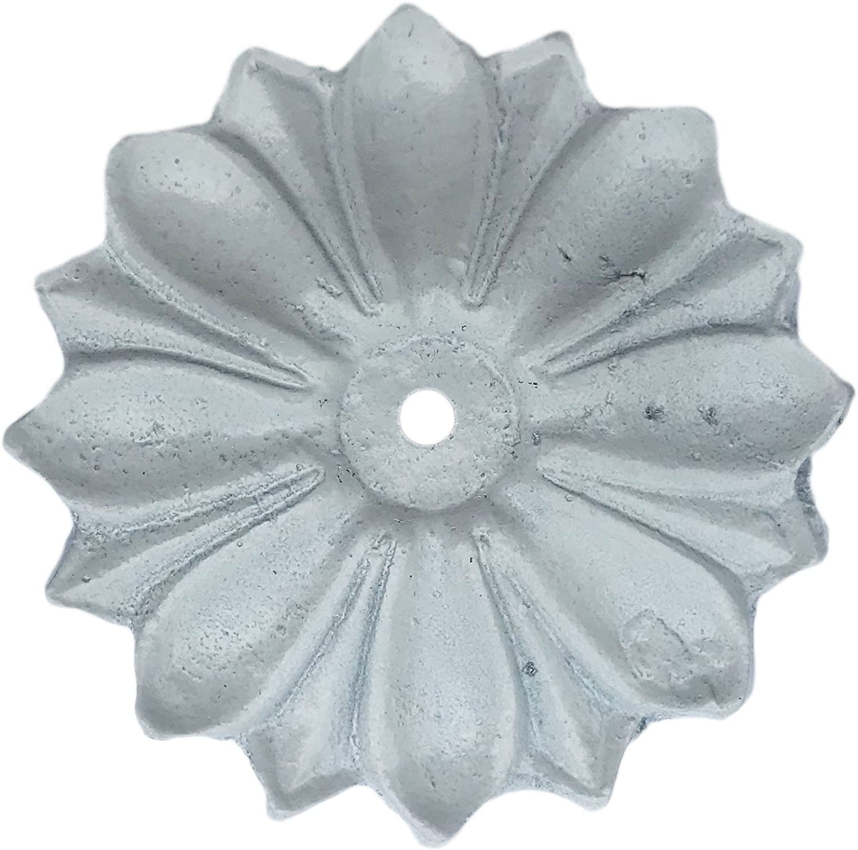 Antique White Knob Back Plate Solid Metal Flower Shaped Decorati
