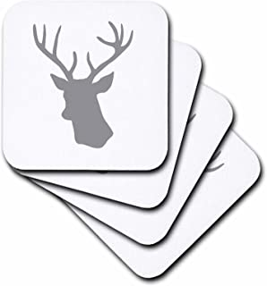 3dRose CST_179695_1 Grey Deer Head Silhouette on White Modern Gray Stag with Antlers Soft Coaster (Set of 4)