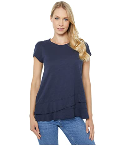 Mod-o-doc Slub Jersey Asymmetrical Flounce Hem T-Shirt (Twilight) Women