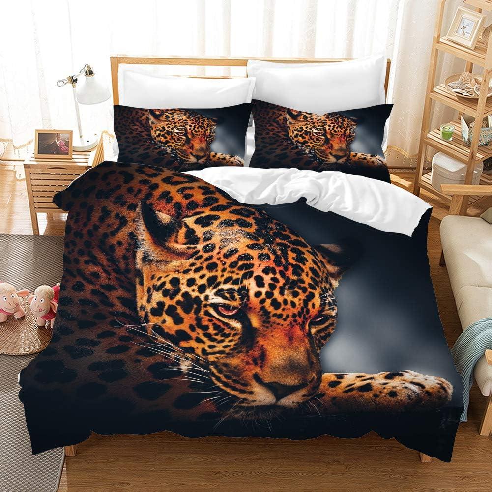 Earendel Leopard Theme Bedding 3D Set Fixed price for sale Atlanta Mall Ferocious Aggr Duvet Cover
