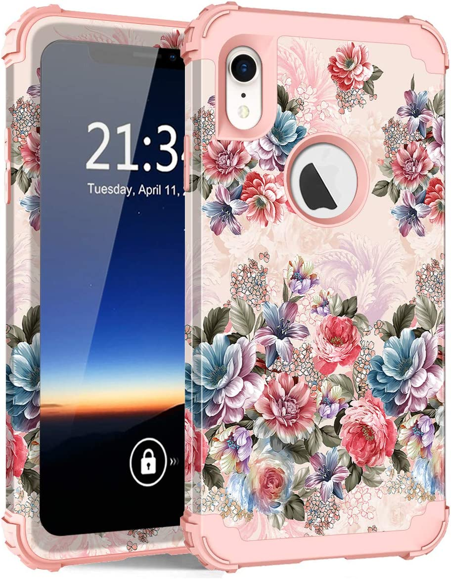Hocase for iPhone XR Case, Shockproof Heavy Duty Protection Soft Silicone Rubber+Hard Plastic Bumper Hybrid Dual Layer Protective Case for iPhone XR (6.1-inch Display) 2018 - Peony Flowers