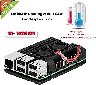 iuniker Raspberry Pi Armor Case, Raspberry Pi Metal Case with Dual Fan Aluminium Alloy, Raspberry Pi Fan, Heatsink for Raspberry Pi 3 Model B+ / Pi 3 B+ (Only for Pi 3B+)