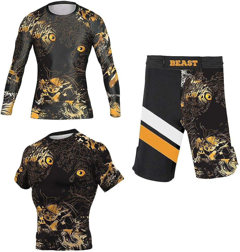 CHOO Men's Tiger Leopard Printed Wrestling Training Rash Guard Shorts Spat No Gi Set
