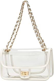 Lam Gallery Womens PVC Clear Purse Transparent Handbags Chain Flap Bag