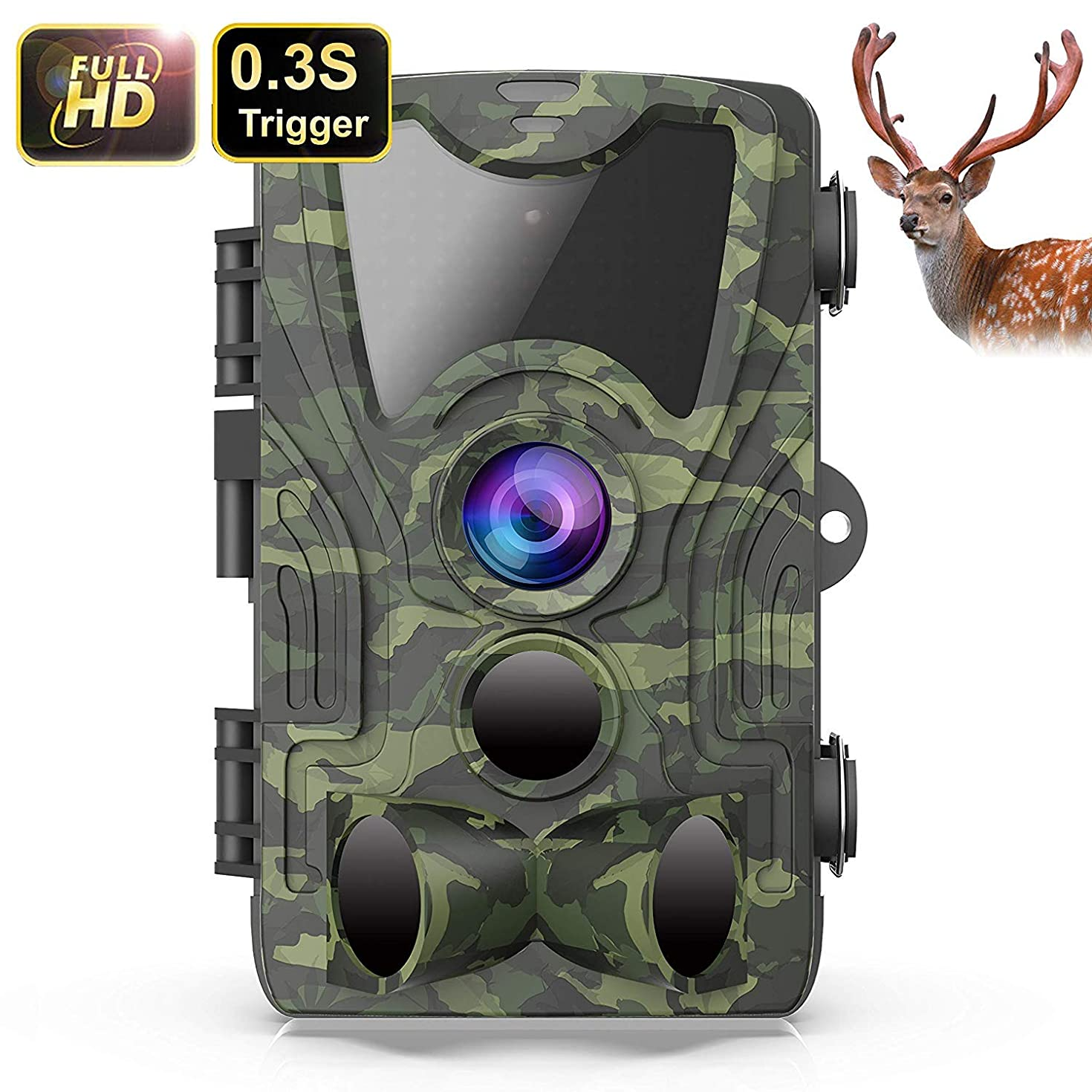 FHDCAM [2019 Upgraded Trail Camera, Scouting Hunting Cam with Motion Activated, 1080P HD, Night Vision, 120° Wide Angle Lens, IP65 Waterproof Game Camera for Wildlife -New Version