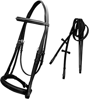 ExionPro Comfort Lined Mono Crownpiece Designer Fancy Stitched Perfect Raised Browband & Double Adjustable Buckle Hunter Noseband English Bridle With Hunter Reins | English Bridle | English Horse Tack