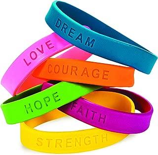 Fun Express 24 Inspirational Sayings Bracelets (Assorted Colors)